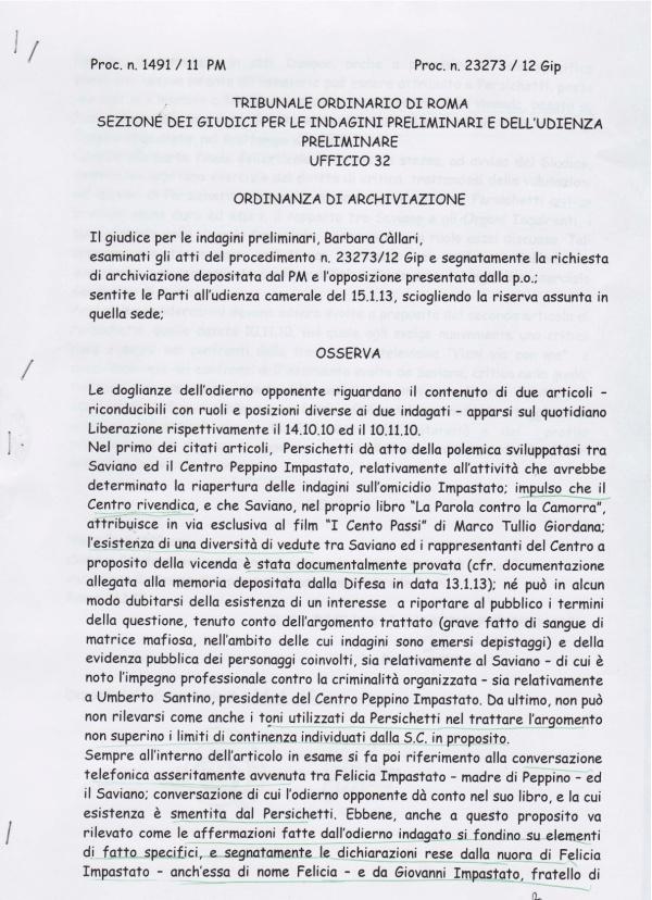 «Persichetti ha utilizzato fonti attendibili». Il Gip da torto a Saviano nella querela contro l'ex brigatista « Insorgenze
